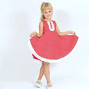 Работы для детей, handmade. Livemaster - original item Fancy dress for girls from American cotton polka dot 110-116. Handmade.