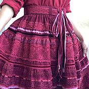 Одежда handmade. Livemaster - original item Boho style skirt made of cotton and lace bright summer demi season cherry. Handmade.
