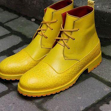 Обувь ручной работы. Ярмарка Мастеров - ручная работа Яркие кожаные ботинки. Handmade.