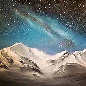 """Картины и панно ручной работы. Ярмарка Мастеров - ручная работа Картина маслом """"Ночь в горах"""". Handmade."""