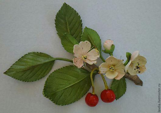 """Броши ручной работы. Ярмарка Мастеров - ручная работа. Купить Цветы из кожи,брошь """"из Вишневого сада"""". Handmade."""