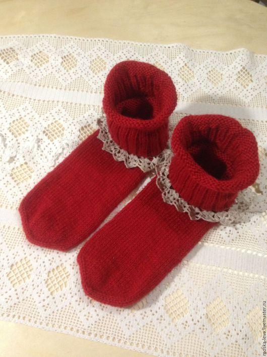 """Носки, Чулки ручной работы. Ярмарка Мастеров - ручная работа. Купить Носочки """"Домашние"""". Handmade. Ярко-красный, Носки шерстяные"""