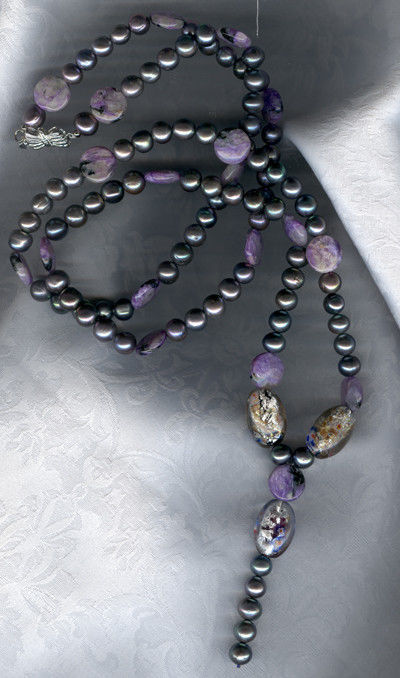 Necklaces & Beads handmade. Livemaster - handmade. Buy Pearl bead with charoite and Murano glass.Pearl