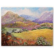 Картины и панно handmade. Livemaster - original item Painting Mountain landscape with mallow. Handmade.