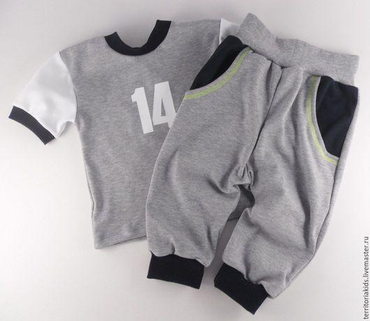"""Одежда для мальчиков, ручной работы. Ярмарка Мастеров - ручная работа. Купить Костюм для мальчика """"Спорт"""" (серый/синий). Handmade. Серый, для малыша"""