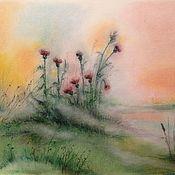 Картины и панно ручной работы. Ярмарка Мастеров - ручная работа Чертополох в утреннем тумане...картина пастелью. Handmade.