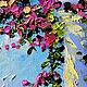 """Пейзаж ручной работы. """"Цветочный Бриз"""" - картина маслом Испания. ЯРКИЕ КАРТИНЫ Наталии Ширяевой. Ярмарка Мастеров. Бирюзовый"""