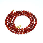 Работы для детей, handmade. Livemaster - original item Long bright beads of natural carnelian with cut. Handmade.