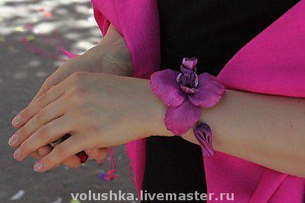 """Браслеты ручной работы. Ярмарка Мастеров - ручная работа. Купить Браслет """"Орхидея с бутоном"""". Handmade. Текстильный браслет, браслет-цветок"""