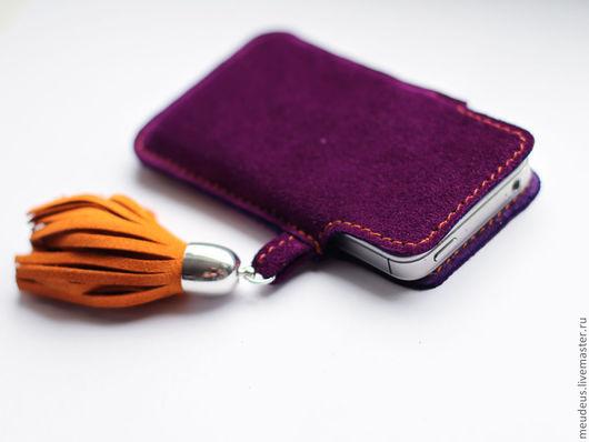 Для телефонов ручной работы. Ярмарка Мастеров - ручная работа. Купить Чехол замшевый для Iphone 4S, 4 арт. 208. Handmade.