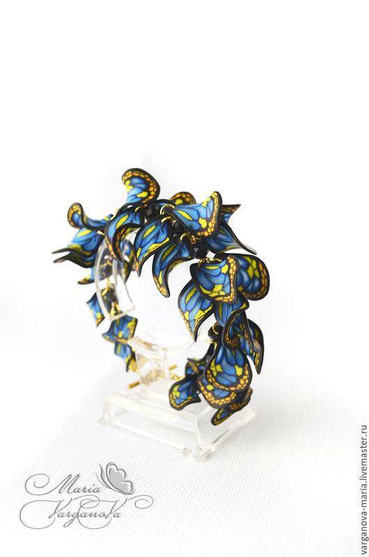 """Браслеты ручной работы. Ярмарка Мастеров - ручная работа. Купить Браслет """"Бабочки"""" из полимерной глины. Handmade. Тёмно-синий"""