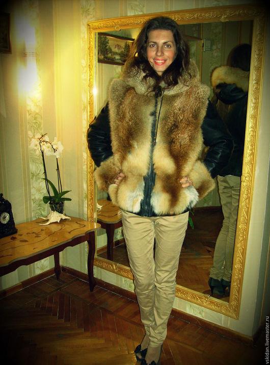 Верхняя одежда ручной работы. Ярмарка Мастеров - ручная работа. Купить Куртка зимняя из кожи с лисой. Handmade. Куртка женская