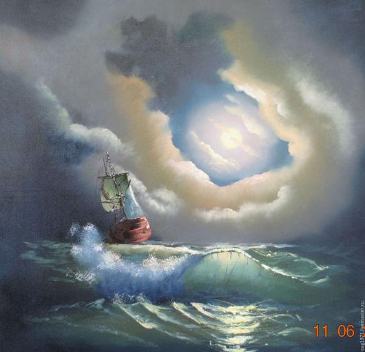 """Пейзаж ручной работы. Ярмарка Мастеров - ручная работа. Купить Картина маслом """"Море"""". Handmade. Комбинированный, картина для интерьера, парусник"""