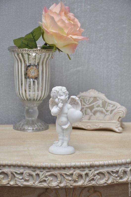 Декупаж и роспись ручной работы. Ярмарка Мастеров - ручная работа. Купить Фигурка белая Ангелочек, для декора в стиле винтаж, прованс. Handmade.