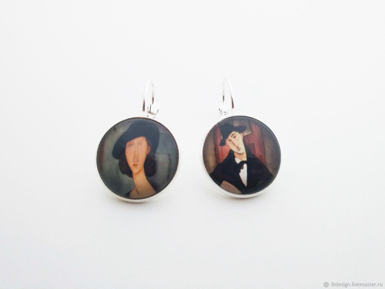 Silver plated earrings Portraits by Modigliani, Tassel earrings, Moscow,  Фото №1