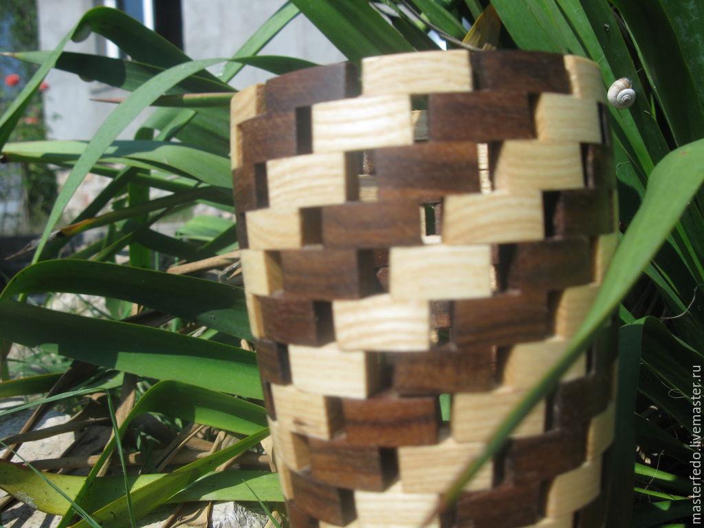 Деревянная ваза для цветов Мозаика