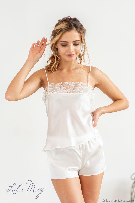 Белье ручной работы. Ярмарка Мастеров - ручная работа. Купить Шелковая пижама с шортиками ANNA. Handmade. Цвет белый