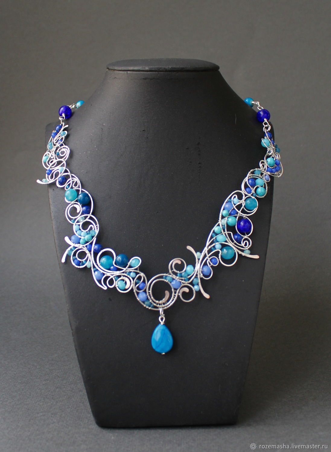 Necklace Silver Stream ( option in blue), Necklace, St. Petersburg,  Фото №1