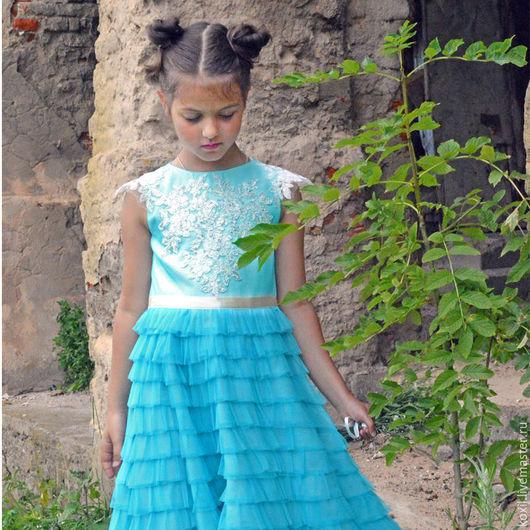 Одежда для девочек, ручной работы. Ярмарка Мастеров - ручная работа. Купить нарядное платье. Handmade. Голубой, детское платье