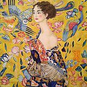 Картины и панно handmade. Livemaster - original item Oil painting Lady with fan. Freestyle copy of the work G. Klimt. Handmade.