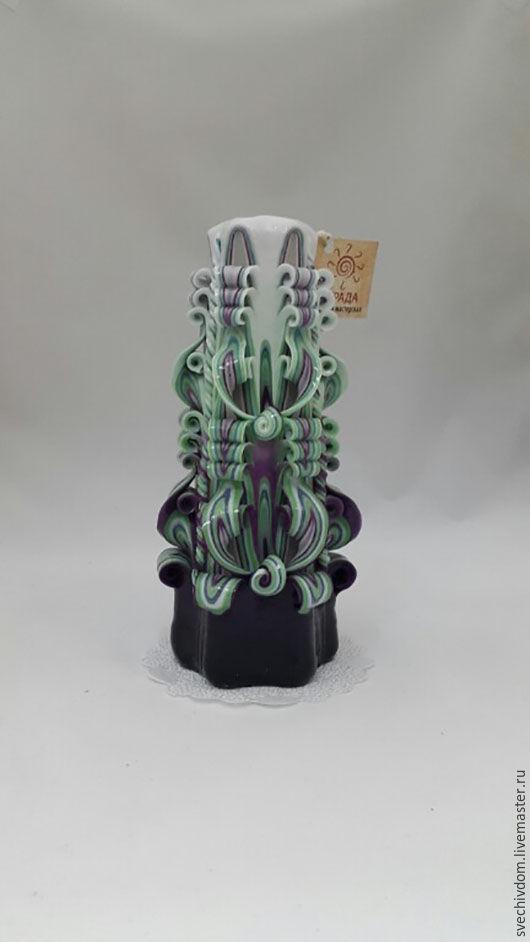 Свечи ручной работы. Ярмарка Мастеров - ручная работа. Купить Резная свеча.. Handmade. Фиолетовый, Свечи, свечи декорированные