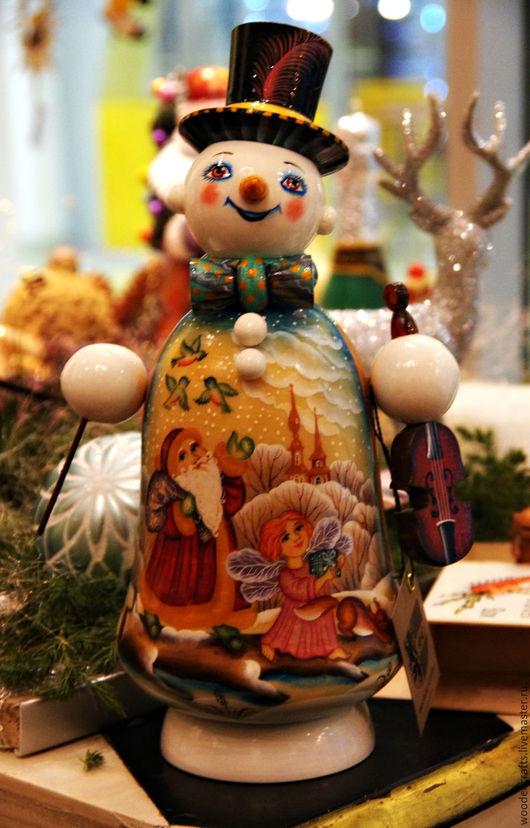 Новый год 2017 ручной работы. Ярмарка Мастеров - ручная работа. Купить Добрый снеговик - шкатулка. Handmade. Комбинированный, деревянный снеговик