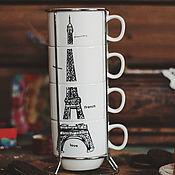 Материалы для творчества ручной работы. Ярмарка Мастеров - ручная работа Набор керамических чашек на подставке «Paris» 180 мл. Handmade.