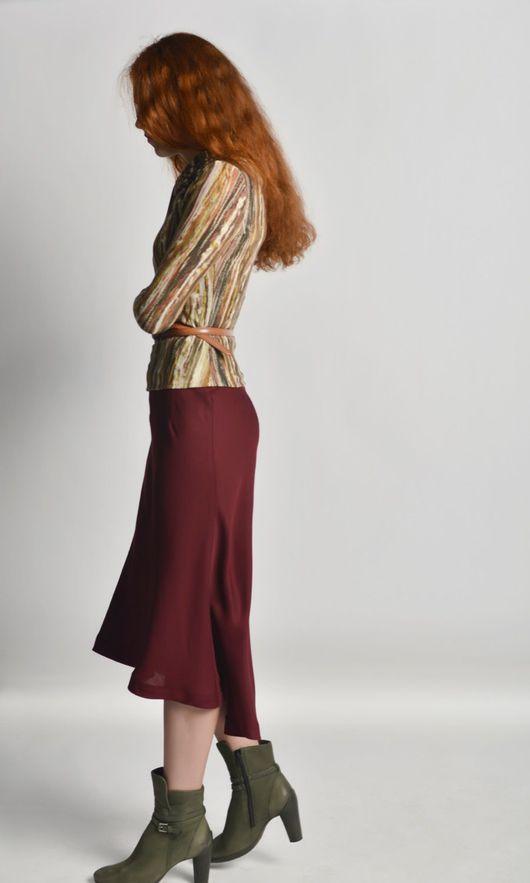 Юбки ручной работы. Ярмарка Мастеров - ручная работа. Купить Юбка с асимметричным подолом. Handmade. Бордовый, длинная юбка