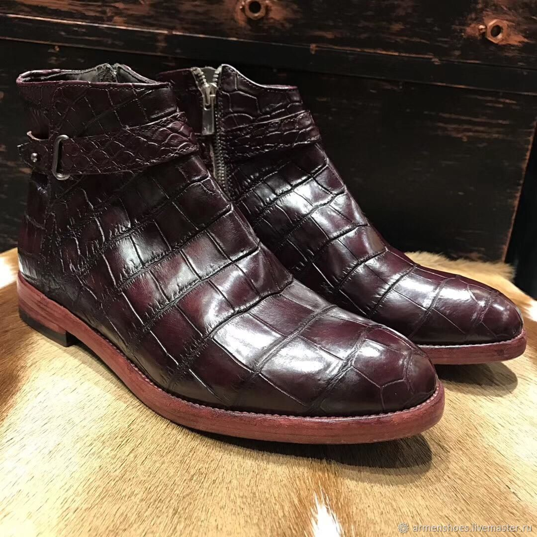 Boots alligator leather strap, the abdominal portion, in Burgundy color, High Boots, Tosno,  Фото №1