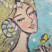 Картины ручной работы. Ярмарка Мастеров - ручная работа Картина акрилом Знаки Зодиака Овен Девушка с бабочкой и цветами. Handmade.