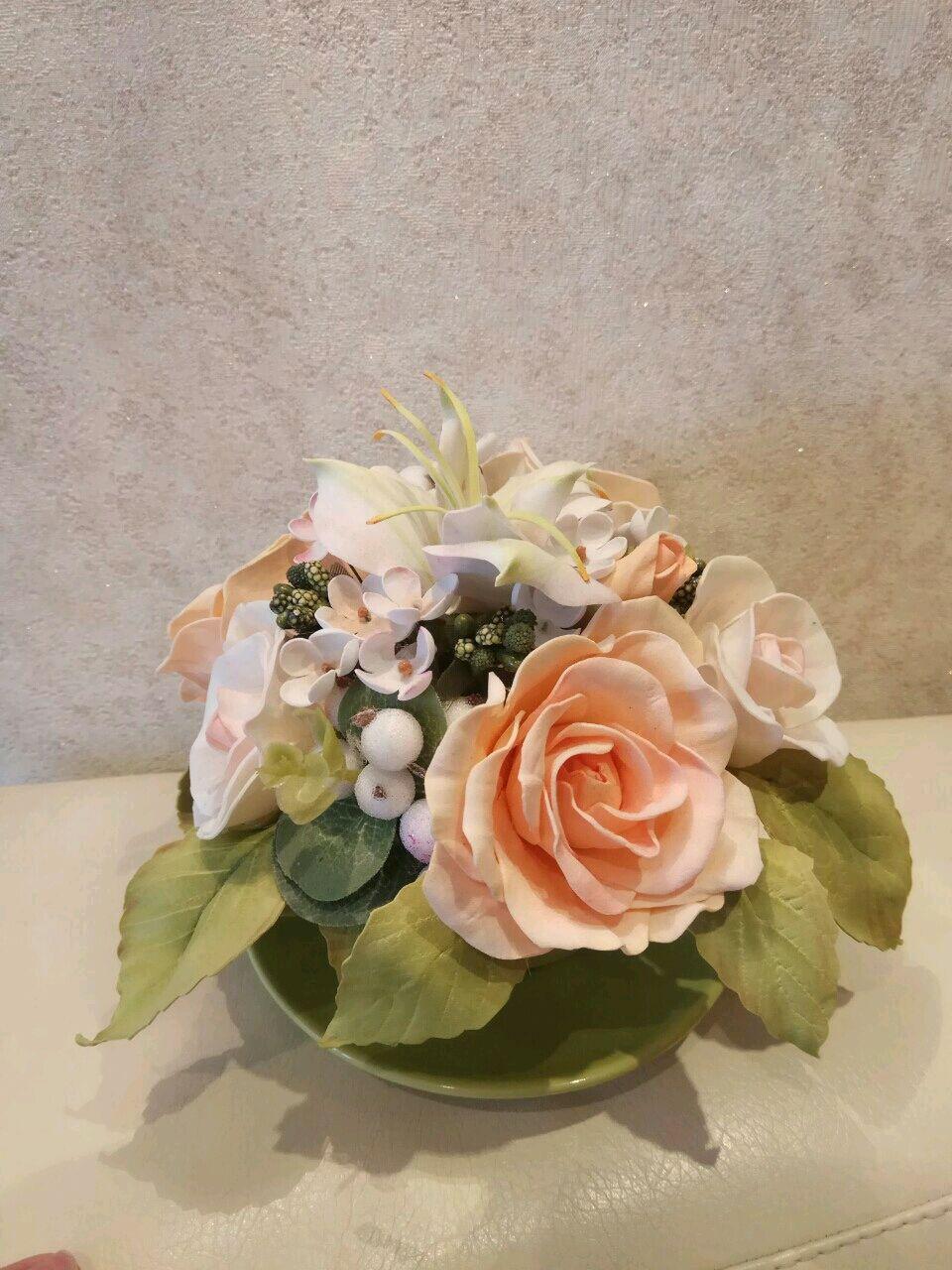 Интерьерные композиции ручной работы. Ярмарка Мастеров - ручная работа. Купить Букет из роз в нежной чашечке (Чайная роза). Handmade.