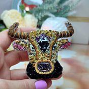 Украшения handmade. Livemaster - original item Bull brooch with Swarovski, symbol 2021, gift to Taurus, in the year of the bull. Handmade.