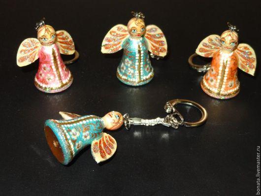 Брелоки ручной работы. Ярмарка Мастеров - ручная работа. Купить Брелок ангелочек. Handmade. Однотонный, брелок для ключей, Роспись по дереву