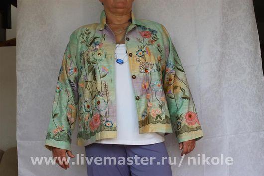 """Большие размеры ручной работы. Ярмарка Мастеров - ручная работа. Купить Пиджак """"Весеннее настроение"""". Handmade. Краски по ткани, ткань"""