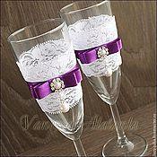 Свадебный салон ручной работы. Ярмарка Мастеров - ручная работа Кружевные бокалы с фиолетовыми бантами. Handmade.