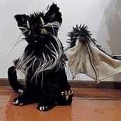 Куклы и игрушки ручной работы. Ярмарка Мастеров - ручная работа Котик с крылышками летучей мышки, фэнтези кот. Handmade.
