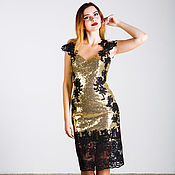 Одежда handmade. Livemaster - original item Golden dress with black lace. Handmade.