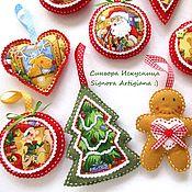 Подарки к праздникам handmade. Livemaster - original item Set of Christmas toys out of felt 6 pieces New year. Handmade.