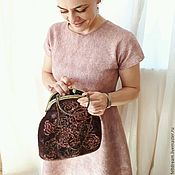 """Платья ручной работы. Ярмарка Мастеров - ручная работа """"Розовый гербарий"""" валяная сумочка с фермуаром. Handmade."""