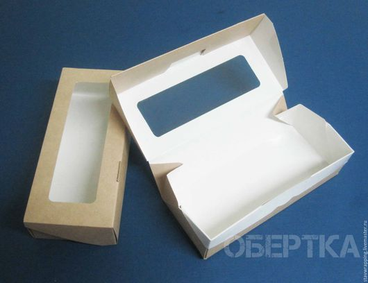 Упаковка ручной работы. Ярмарка Мастеров - ручная работа. Купить Коробка 17х7х4 см с прозрачным окошком Эко упаковка. Handmade.