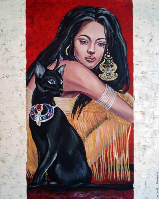 """Люди, ручной работы. Ярмарка Мастеров - ручная работа. Купить """"Египетская ночь"""" - картина акрилом, женщина и кошка. Handmade. Бордовый"""