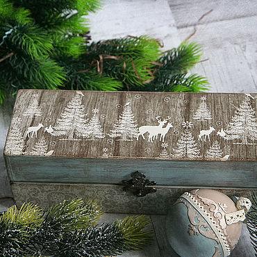 Подарки к праздникам handmade. Livemaster - original item A set of Christmas balls in a box In a fairy forest. Christmas ball decoupage. Handmade.