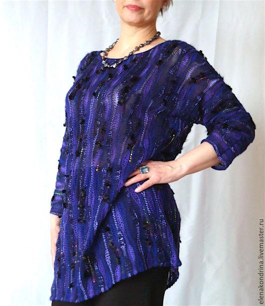 """Кофты и свитера ручной работы. Ярмарка Мастеров - ручная работа. Купить Туника-кимоно """"Черничный вечер"""". Handmade. Тёмно-синий"""