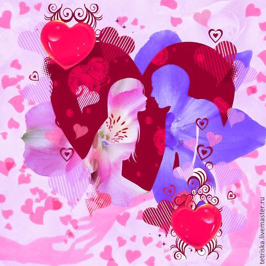 Фото-работы ручной работы. Ярмарка Мастеров - ручная работа. Купить коллаж День святого Валентина. Handmade. Праздник, влюбленным