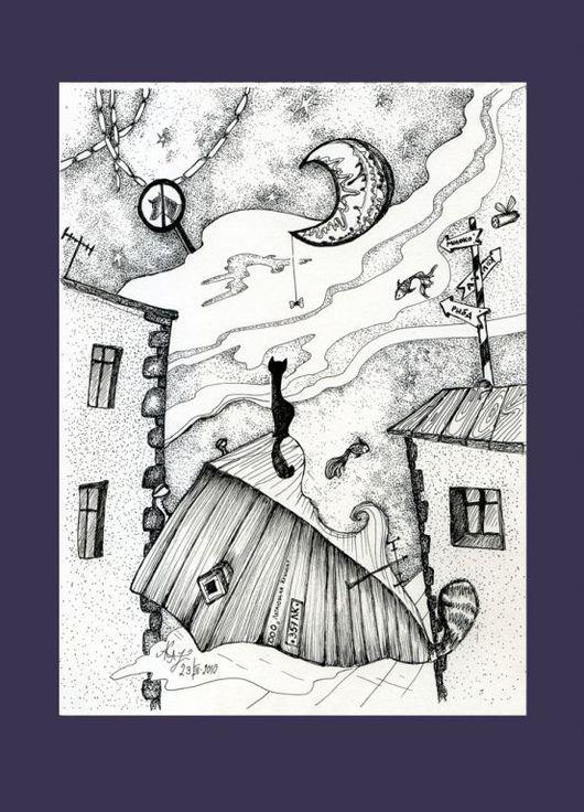 Фантазийные сюжеты ручной работы. Ярмарка Мастеров - ручная работа. Купить Кошачьи сны. Handmade. Бумага, рапидографы