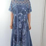 """Платья ручной работы. Ярмарка Мастеров - ручная работа Свободное Бохо платье синее  """" Le  bleu  ocean magnifique"""". Handmade."""