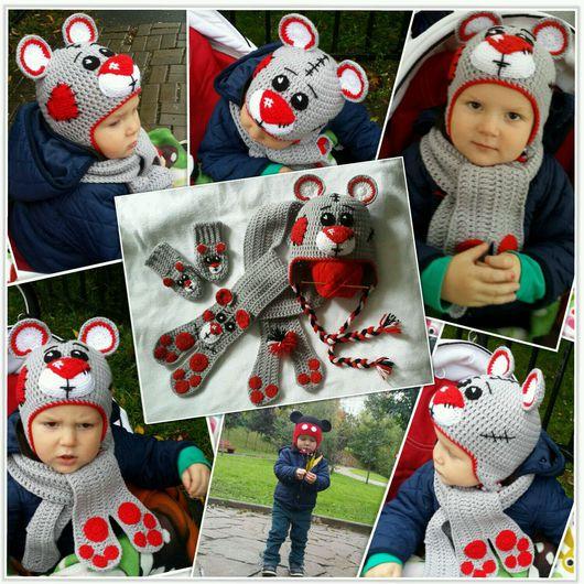 Шапки и шарфы ручной работы. Ярмарка Мастеров - ручная работа. Купить Комплект детский вязанный Мишка Тедди зимний. Handmade.