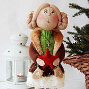 Куклы и игрушки ручной работы. Ярмарка Мастеров - ручная работа Мечтательница. Кукла текстильная новогодняя. Handmade.