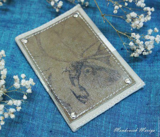 Обложки ручной работы. Ярмарка Мастеров - ручная работа. Купить Обложка на паспорт « Олень » с вставкой рыбьей кожи. Handmade.