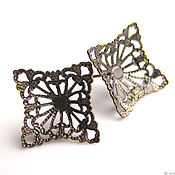Материалы для творчества handmade. Livemaster - original item Basis for earrings poussettes filigree bronze. Handmade.